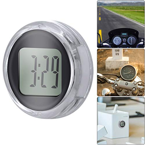 Lespar Motorraduhren,Mini wasserdichte Stick-On Motorrad Uhr Motorrad Auto Universal Wasserdicht Elektronische Uhr (Schwarz)