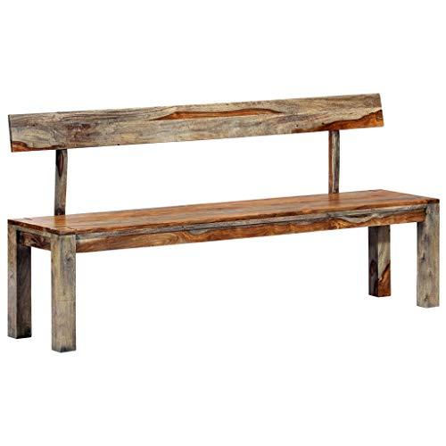 Banco de madera maciza de sheesham con respaldo, decoración del hogar, muebles de interior, hecho a mano, robusto, salón comedor, vestíbulo, recibidor, color gris, de vidaXL.