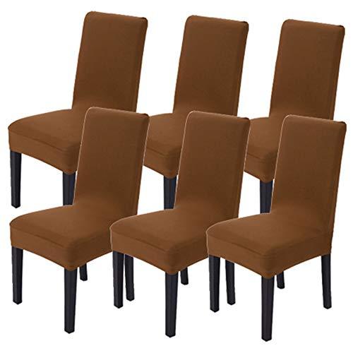 Littleprins Stuhlhussen 6er Set Stuhlbezug elastische Hussen für Stühle Schwingstühle Stretch Stuhlüberzug für Esszimmer Stuhl Hochzeit Partys Bankett (Braun)