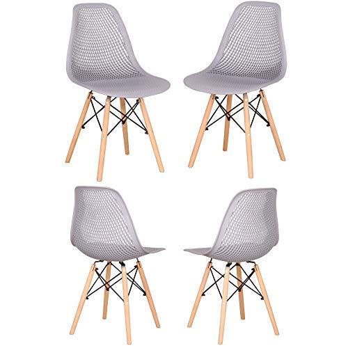 GrandCA HOME Juego de 4 sillas Clásicas Sillas,Sillas de Comedor para Comedor, Café, Restaurante,Oficina (Gray)