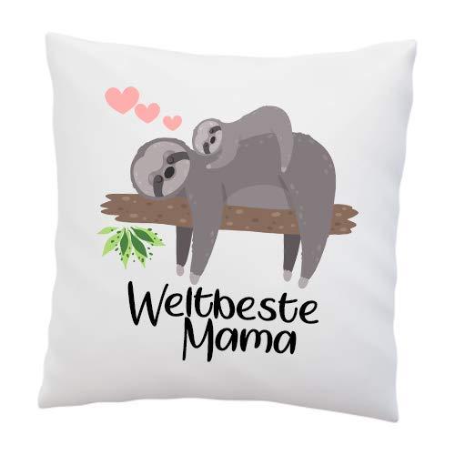 Kissen mit Spruch - ''Weltbeste Mama'' - Faultier- Deko-Kissen - weiß 40cm x 40cm - Liebe - optimales Geschenk - Muttertag - Geburtstag - Weihnachten