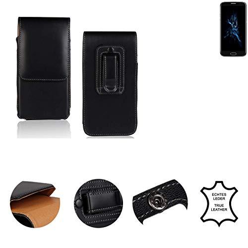 K-S-Trade® Holster Gürtel Tasche Für Bluboo Edge Handy Hülle Leder Schwarz, 1x