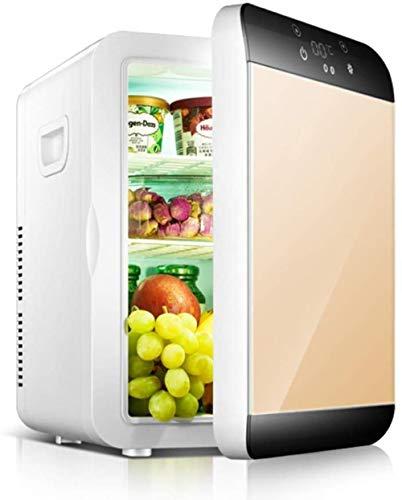 Mini refrigerador portátil Enfriador y Calentador eléctrico para refrigerador de automóvil Compacto con termostato Digital Enfriador de Vino para Acampar al Aire Libre-Blanco 30x24x35cm-dorado_30x24