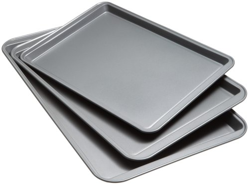 Goodcook 08929002199 Nonstick Bakeware, Set Of 3 Non-Stick Cookie Sheet, Multicolor