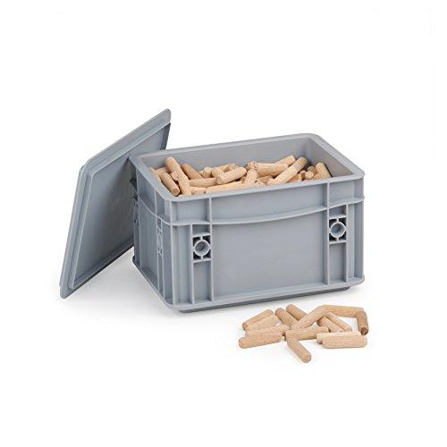 Holzdübel 8mm x 40 | 1kg geriffelte Langholzdübel | Riffeldübel aus Massiver Buche | Lieferung in WFix Systembox | Ideal für Meisterdübler