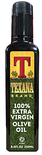 Texana Brand 100% Extra Virgin Olive Oil, Cold Pressed, Unfiltered, Non-GMO, 250ml (8.5 oz)