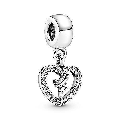 Annmors Tinker Bell Dangle Charms para Pulseras Pandora con Zirconia Cúbica encaja en la Cadena Europea de la Serpiente S925 Regalos de Joyería de Plata de Ley para Mujeres Niñas Cumpleaños Graduación