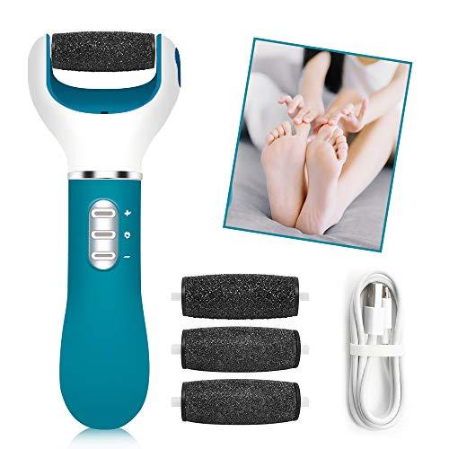 Elektrischer Hornhautentferner, Pediküre Elektrisch Fußpflege Hornhauthobel Hornhautraspel, USB Wiederaufladbar Hornhaut Entfernun mit 4 Ersatzrollen und 3 Geschwindigkeiten