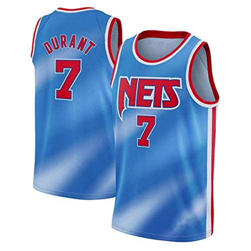 PQMW Kevin Durant #7 Basketballtrikot Herren Brooklyn Nets 2021 New Season City Edition Trikots Herren Basketball Uniform Sport Schnelltrocknend Shirt Gr. S, blau
