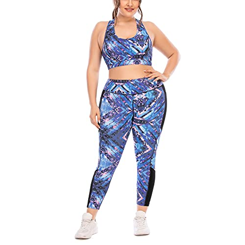 DSACXZ Juego De Entrenamiento De Talla Grande para Mujer Conjunto De 2 Piezas Sports Yoga Sujetador Alto Cintura Leggings con Gimnasio De Bolsillo Activewear Set (Size : XXL)