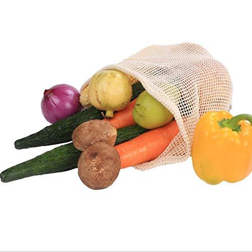 Dynamovolition Bolsa de Malla de algodón orgánico degradable Bolsa de Malla de algodón Vegetal Bolsa de Malla de Fruta Bolsas Reutilizables Reducción de la Huella de Carbono