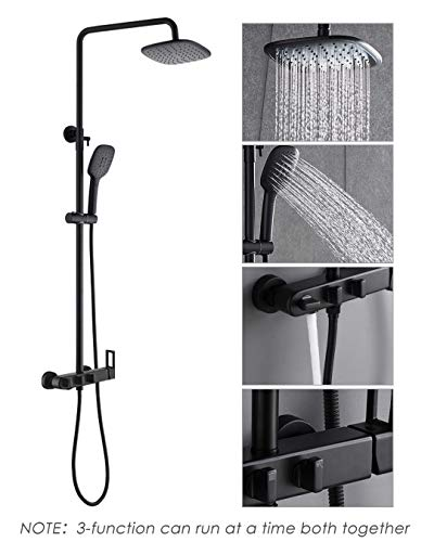PHASAT Outdoor Shower Fixtures Brass Bathroom Faucet Set with ABS Rainfall Showerhead,ABS Handheld Shower,Wall Mount Adjustable Shower Bar 3 Function Matte Black,CT8525