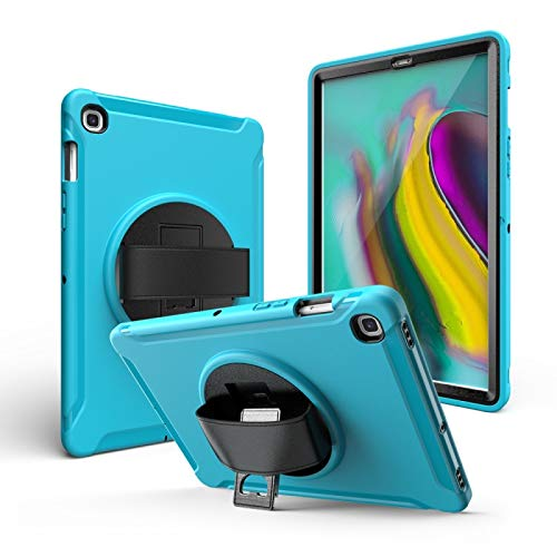 LM For iPad 10.2 2019 360 Degree Rotation PC + Silicone Protective Case with Holder & Hand-strap 2021 NEW MODEL (Color : Light Blue)
