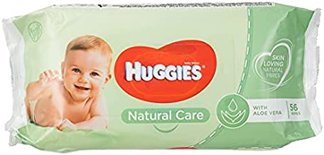 Baby Wipes Natural Care with Aloe Vera Huggies Wipes 56 Pc Kids