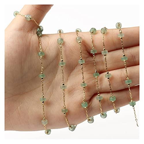 SFSD807 1 metro Hecho a mano Alambre de oro Turquesa Cadena de piedra Cadenas de cuentas para joyería Fabricación de bricolaje Pulsera Pulsera Accesorios Búsqueda de joyas ( Color : Green aventurine )