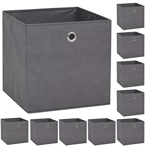 vidaXL 10x Aufbewahrungsbox Vliesstoff 32x32x32cm Grau Faltbox Regalkorb