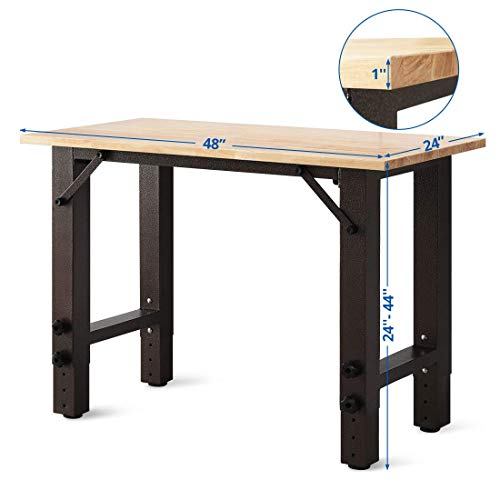 "Smile Back Adjustable Workbench Work Table with Hardwood Heavy-Duty Wood Top Sturdy Steel Frame, 48"" x 24"", Work Benches for Garage, Shop, Home Office, Workshop, Hardwood Workstation, Easy Assembly"