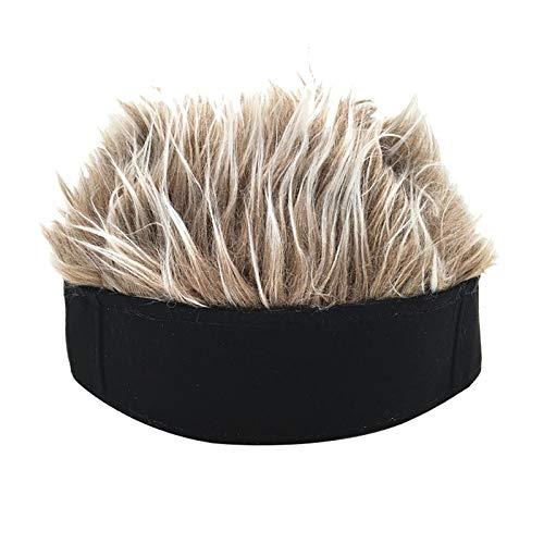 LovePlz Männer Retro Kurze Perücke Stirnband Hip Hop Hooligan Cap Beanie Cosplay Gefälschte Haare Hut Natürlich Aussehende Hitzebeständige Faser Haare Für Frauen Schwarz + Kaffee
