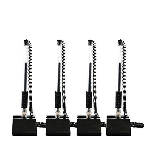 Pack de 4 bolígrafos de tinta de gel para escritorio con base adhesiva, tinta negra, color negro