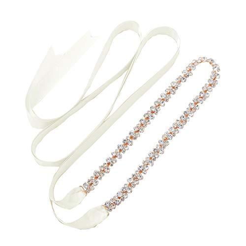 SWEETV Bridal Belt with Rhinestones Wedding Belt Crystal for Brides, Rose Gold