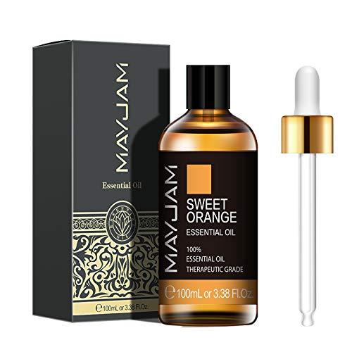 MAYJAM Aceites Esenciales de Naranja Dulce 100 ml, 100% Aceites Esenciales Naturales Puros, Aceite Esencial de Aromaterapia de Grado Terapéutico, Aceites de Fragancia para Difusor, Regalos Perfecto