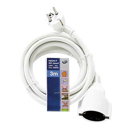 REV Ritter - Cable eléctrico alargador 3 m - color blanco