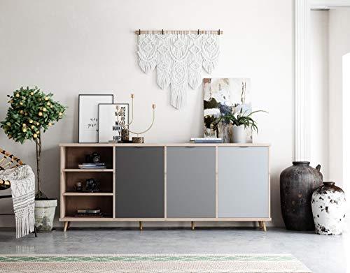 Newfurn Kommode Grau Eiche Hirnholz Sideboard Modern Vintage - 210x88x40 cm (BxHxT) - Highboard Anrichte - [Conni.Eight] Wohnzimmer Schlafzimmer Flur Esszimmer