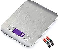 Bilancia Da Cucina Di Precisione JP-LED® 【2 Batterie Incluse 】Bilancia Elettronica Digitale Con Funzione Tara【5kg/11...