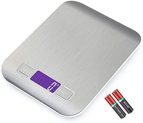 Bilancia Da Cucina JP-LED 【2 Batterie Incluse 】Bilancia Elettronica Digitale【5kg/11 lbs】 Bilancino Con Funzione Tara ad Alta Precisione Professionale Per Alimenti, Liquidi, Ricette