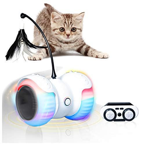 YOFUN Robotic Interactive Cat Toy, Newest Version with Automatic & Remote Control Modes, Attached Feathers,Large Capacity Battery, Build-in Color Changing Light, Run On All Floors