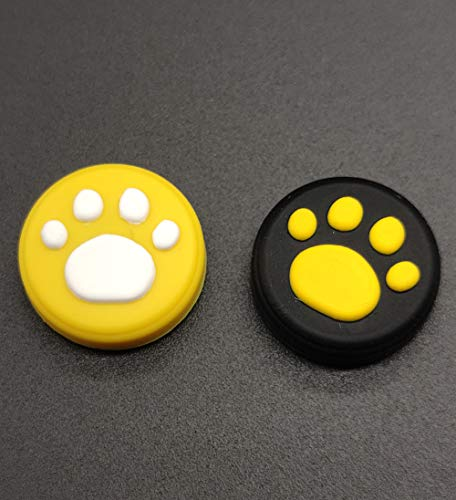 2 x Silicone Analog Controller Thumb Stick Joystick Grips Cap for Nintendo Switch NS & Switch Lite Controller Joy-Con ThumbStick Cute Cat Paw Claw (Combination Yellow 2PCS)