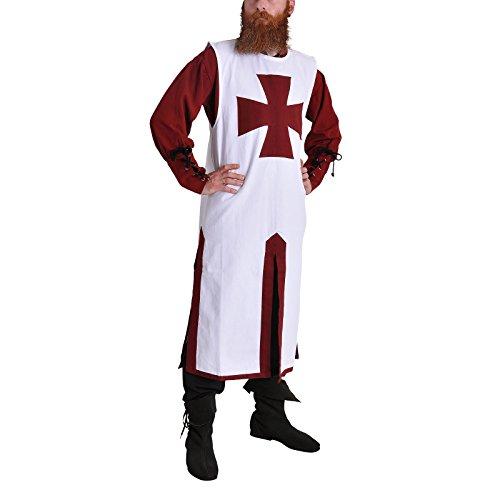 Elbenwald Costume médiéval: Crusader Tunique Blanche/Bordeaux - XXL