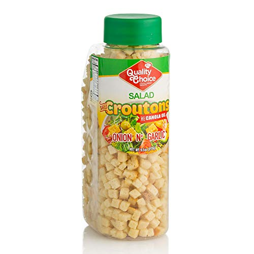 Croutons For Salad And Soup - 9.5 Oz. - Onion and Garlic Flavored Soup And Salad Topping - Kosher