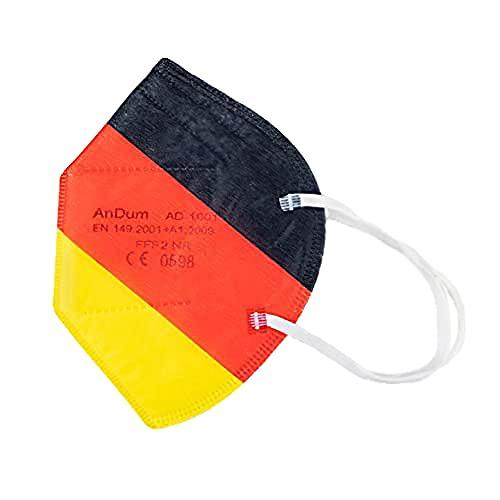 Null Karat 5 Stück FFP2-Masken Farben Deutschland EM schwarz rot Gold