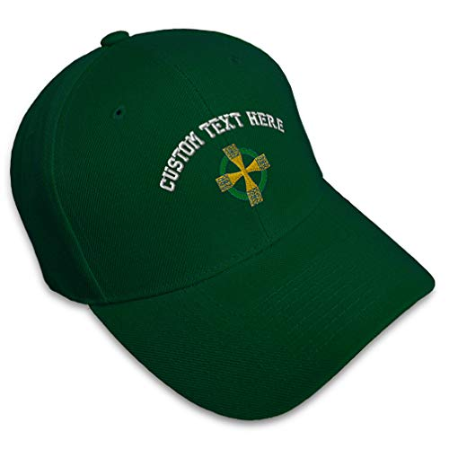 Custom Baseball Cap Celtic Cross B Embroidery Religions Other CROS Acrylic Hats for Men & Women Strap Closure Forest Green Personalized Text Here