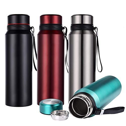 Hiwill Sport, borraccia in acciaio inox, 750 ml e 1100 ml, con isolamento sottovuoto, senza BPA, Acciaio INOX, Blu, 26oz/750ml