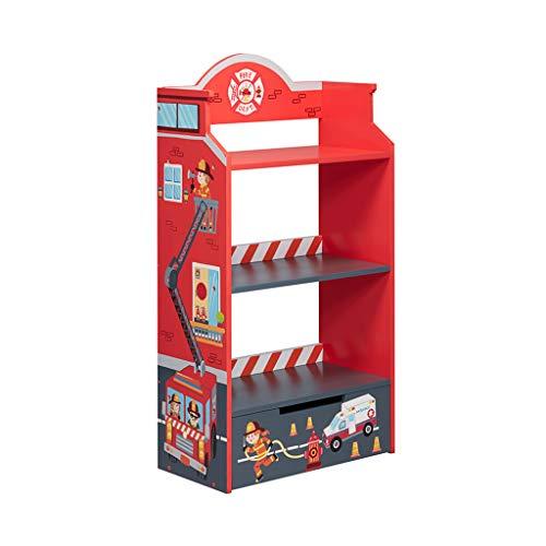 Rangement de dossiers Bibliothèque Enfants Bibliothèque Toy Support de Rangement étage Bibliothèque for Enfants Book Rack Salon étagère (Color : Red, Size : 57 * 30 * 108cm)
