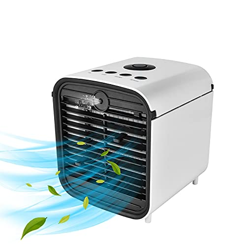 HALIGHT Portable Air Cooler, 4-In-1 Mini Air Conditioner, Air Cooling Fan and Humidifier, Mini Evaporative Aroma Diffuser with 3 Fan Speeds and 7 LED Lights, for Home, Office