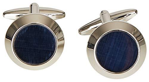 Wilvorst Manschettenknöpfe, rund, silberfarben mit Blauer Einlage