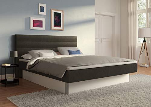 SuMa - Wasserbett 200x220 dual, m. Topper, freistehend m. Sockel weiß und Kopfteil Largo, Farbe Carbon 200x220 cm