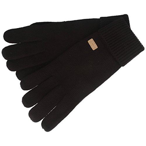 Handschuh   Strick-Handschuhe   Winterhandschuhe aus 100% Wolle – für Damen & Herren – Umschlag – Schwarz - 7,5