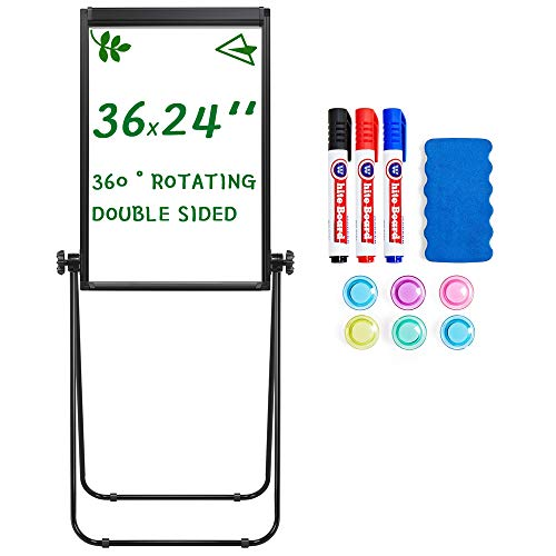 Topeakmart Whiteboard with Stand,36 x 24 White Board with Stand for Students for Home, Double Sided Magnetic Dry Erase Board Perfect for Classroom/Preschool/Homeschool/Restaurant/Presentation