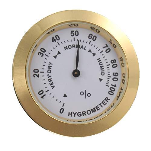 XINFULUK Messing Analog Hygrometer Zigarrentabak Luftfeuchtigkeitsmesser und Glasobjektiv für Humidore Raucherfeuchtigkeitsempfindlichen Messgerät - Gold