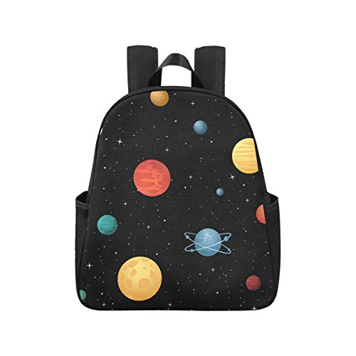 Cartoon Space Shiny Solar System Planet Travel Backpack 12.40x5.12x14.17inch Commuter Backpack Multipurpose Casual Backpacks for School Business Travel School,Office