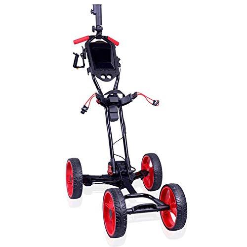 Z&HA Elektrische Golf-Trolley, faltbar Golf Push-Pull-Wagen mit justierbarer Handgriff und Getränkehalter, eine Sekunde zum Öffnen oder Schließen