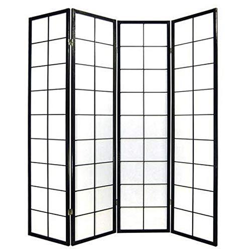 Fine Asianliving Japanischer Paravent Raumteiler Trennwand 4-teilig Shoji Reispapier - Schwarz - B180xH180cm