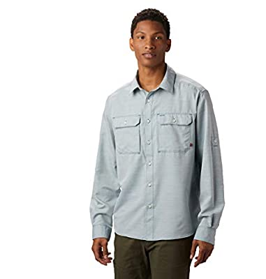 Mountain Hardwear Men's Canyon Solid Long Sleeve Shirt for Hiking, Climbing, Camping, and Casual Everyday - Dive - Medium