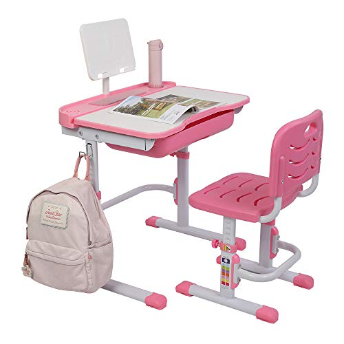 VALUE BOX Kids Desk and Chair Set, Height Adjustable Children Study Table and Chair Set with Tilting Desktop, School Students Workstation for Studying, Reading and Drawing (Pink)