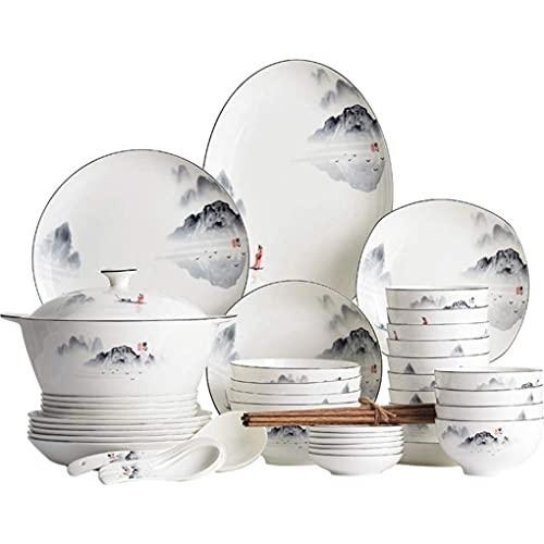 HKX Juego de vajilla Resistente, vajilla de Porcelana de Belleza Oriental, vajilla de cerámica con patrón de Pintura de Paisaje Blanco con Cuchara, 60