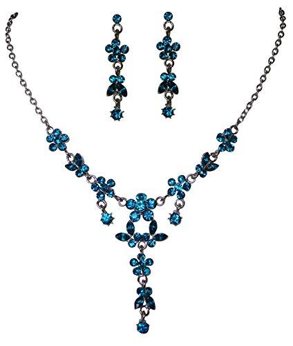 Elegantes Trachtenschmuck Dirndl Kristall Collier Set - Y-Kette und Ohrstecker - Schmetterlinge und Blüten (Indicolite Blau/Türkis)